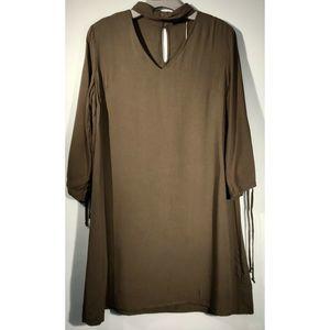 Mustard Seed Choker Neck Shirt Dress Small NWT